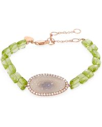Meira T - 14k Rose Gold, Druzy, Peridot & 0.27 Total Ct. Diamond Bracelet - Lyst