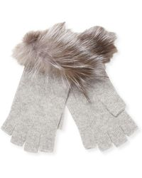 Sofia Cashmere - Fox Fur-trimmed Fingerless Gloves - Lyst