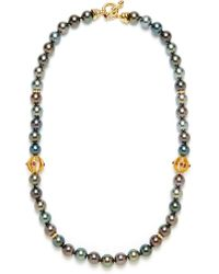 Tara Pearls - Multicolor Tahitian Pearl & Gold Cutout Orb Station Necklace - Lyst