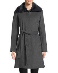 Via Spiga - Fox Fur Collar And Wool Blend Belted Coat - Lyst