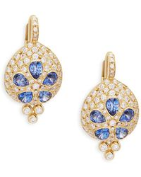 Temple St. Clair - Sea Biscuit Sapphire & Diamond Yellow Gold Drop Earrings - Lyst