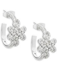 Freida Rothman - Open Love Knot Crystal And Sterling Silver Hoop Earrings - Lyst