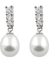 Splendid Silver 7-8mm Freshwater Pearl Earrings - Metallic