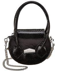 SALAR MILANO Mimi Snake-embossed Leather Shoulder Bag - Black