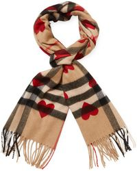 """Burberry - Check & Hearts Classic Cashmere Scarf, 66"""" X 12"""" - Lyst"""