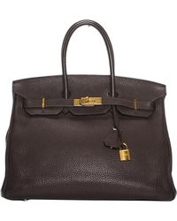Hermès - Birkin 40 Brown Leather Handbag - Lyst