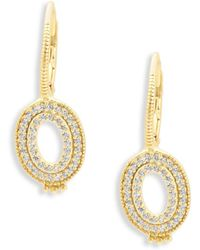 Freida Rothman - Classic Cubic Zirconia And Sterling Silver Open Oval Earrings - Lyst