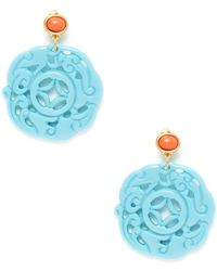 Kenneth Jay Lane - Coral & Turquoise Resin Carved Drop Earrings - Lyst