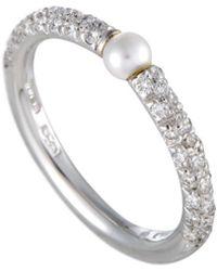 Mikimoto - 18k 0.35 Ct. Tw. Diamond & 3-3.5mm Pearl Ring - Lyst