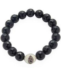 Bavna Black Spinel Stretch Bracelet With Enamel Diamond Bead