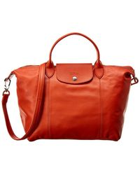 Longchamp - Le Pliage Cuir Medium Leather Short Handle Tote - Lyst