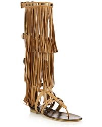 Brian Atwood - Adriana Fringed Leather Flat Sandals - Lyst