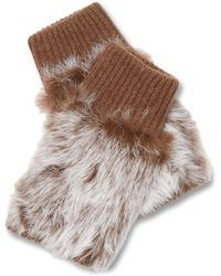 Adrienne Landau - Knit Fingerless Rabbit Fur Glove - Lyst