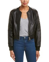 Doma Leather Embroidered Bomber Jacket - Black