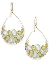 Nunu - Green Quartz & Blue Quartz Cluster Earrings - Lyst