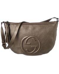 Gucci - Grey Metallic Leather Soho Shoulder Bag - Lyst