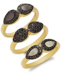 Freida Rothman - Slated Noir Droplet Stackable Ring Set - Lyst