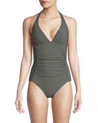 Carmen Marc Valvo - One-piece Smocked Halter Swimsuit - Lyst