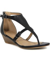 ced1652c0f1c Lyst - Easy Spirit Avery Leather Low Wedges - Espresso Leather in Black
