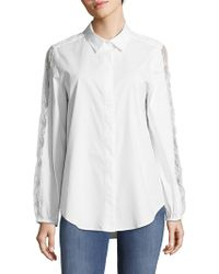 Saks Fifth Avenue Black Poplin Collared Slip-on Shirt
