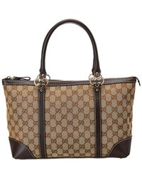 d07774675faf Gucci Reversible Gg Leather Tote Beige Blue in Natural - Lyst