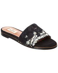 daa7248ed96 Lyst - Prada Feather-trimmed Leather Sandals in Metallic