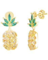 Gabi Rielle 22k Over Silver Cz Pineapple Drop Earrings - Metallic
