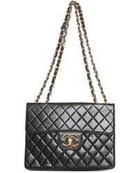 80238dd2c3ea Chanel - Black Quilted Lambskin Leather Jumbo Half Flap Bag - Lyst