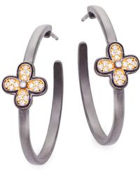 Freida Rothman - Clover Sterling Silver Hoop Earrings - Lyst