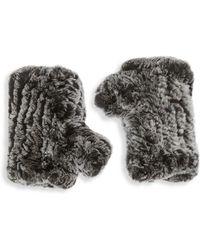 Saks Fifth Avenue Black - Fingerless Rabbit Fur Texting Gloves - Lyst