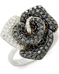 Effy - Diamond & 14k White Gold Solid Fill Statement Ring - Lyst