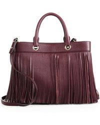 MILLY - Essex Fringe Leather Satchel - Lyst