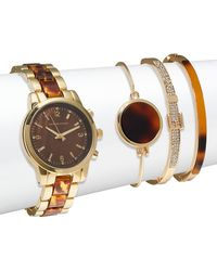 Adrienne Vittadini - Tortoise Shell Bracelet Watch & Bangle Bracelet Set - Lyst