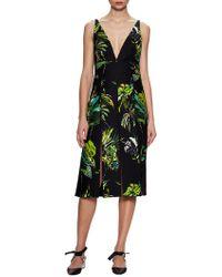 Proenza Schouler | Printed Deep V-neck Slit Midi Dress | Lyst