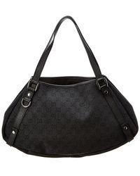 7fcf5f8ca62 Gucci - Black GG Canvas   Leather Abbey Tote - Lyst