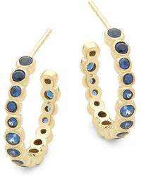 Ippolita - Blue Sapphire And 18k Yellow Gold Hoop Earrings - Lyst