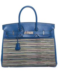 Hermès - Blue Leather Vibrato Birkin 35cm Phw - Lyst