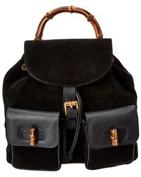 4b5cfca4611 Gucci - Black Suede   Leather Large Bamboo Backpack - Lyst