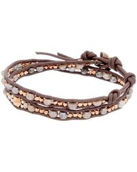 Chan Luu - Rose Gold Over Silver & Silver Moonstone & Crystal Leather Wrap Bracelet - Lyst