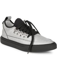 Alessandro Dell'acqua - Lace-up Pointed Metallic Trainers - Lyst