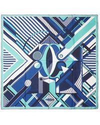 "Cartier - Vintage Blue Geometric Silk Scarf, 34"" X 34"" - Lyst"