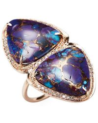 Jacquie Aiche - Fine 14k Rose Gold Pave Purple Turquoise Triangle Trinity Ring - Lyst