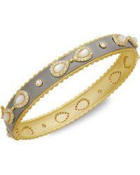 Freida Rothman - Mother-of-pearl & Crystal Hinged Bracelet - Lyst