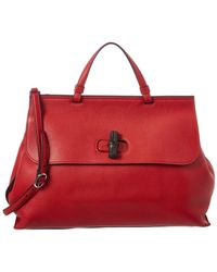 Gucci - Red Leather Bamboo Bag - Lyst