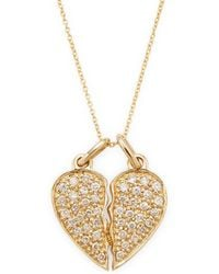 Sydney Evan - 14k Diamond Broken Heart Necklace - Lyst