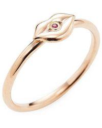 Sydney Evan - Rose Gold Lips Ring - Lyst