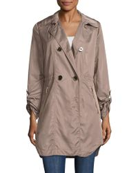 T Tahari Outerwear - Mason Double Breasted Anorak Trench - Lyst
