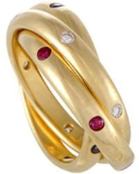 Cartier - Vintage Trinity 18k Yellow Gold With Diamond, Ruby & Sapphire Rolling Band Ring - Lyst