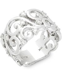Effy - Diamond And 14k White Gold Intricate Ring - Lyst
