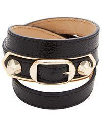 Balenciaga - Classic Metallic Edge Triple Tour Leather Bracelet - Lyst